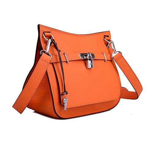 Women's Bag Genuine Satchel Padlock Leather Ainifeel Orange Silver Messenger With Hardware dYxqXPwn