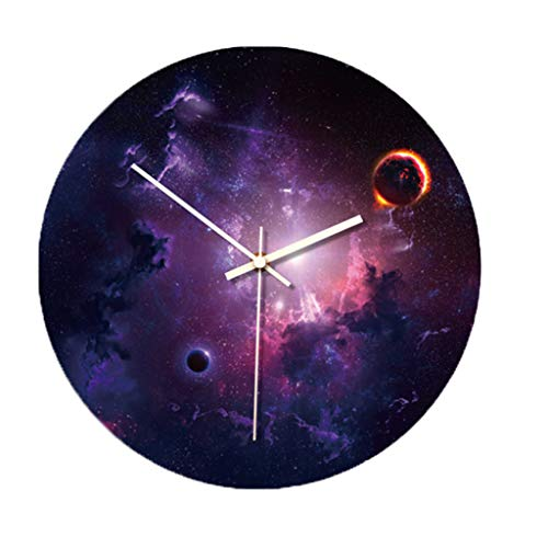 Sayolala Wall Clock 3D Printed Large Starry Sky Photo Wall Removable Glow in The Dark Clock Home Office Bedroom Living Room Decor, 12 Inch