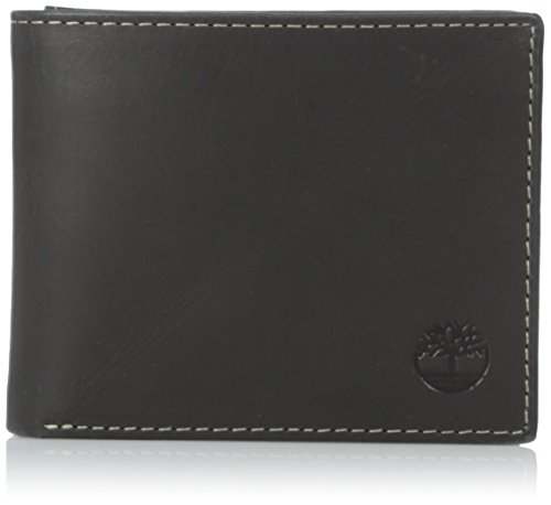 Timberland Men's Leather Wallet with Attached Flip Pocket, Black Hunter, One Size