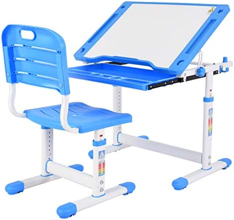 orifam Study Desk for Students Bedroom,Children Writing Student Desk Drafting Table Height Adjustable and Chair with Drawers Storage Blue