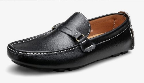 Mens Vera Pelle Casual Slip-on Business Penny Scarpe Da Guida Mocassino Eur Taglia 38-44 Nero