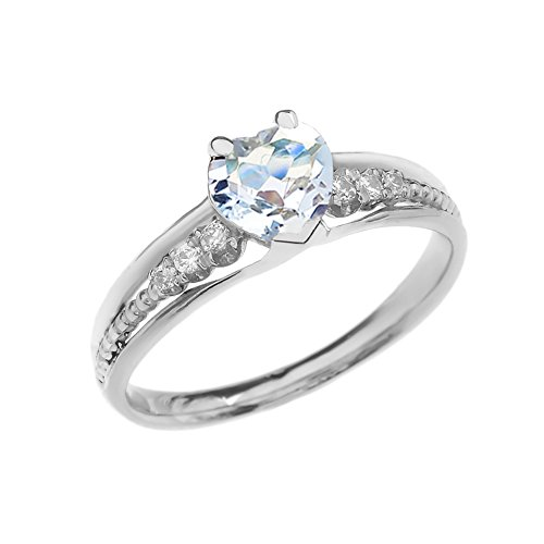 Dazzling 14k White Gold Diamond And Aquamarine Birthstone Heart Beaded Promise Ring (Size 12)
