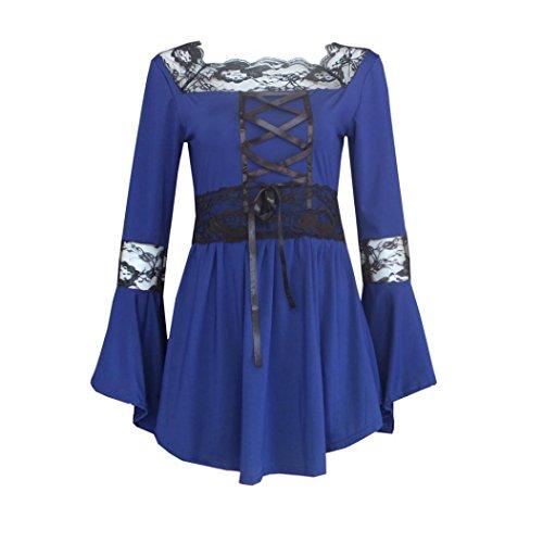 Vovotrade Mujer de encaje de manga larga de la blusa del algodón Azul