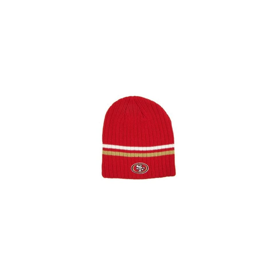 San Francisco 49ers NFL Reebok Team Apparel Red Double Stripe Ribbed Beanie Hat