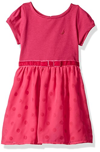 Flocked Dot Dress (Nautica Little Girls' Ponte Top With Flocked Dot Taffeta Dress, Dark Pink Dots, 5)