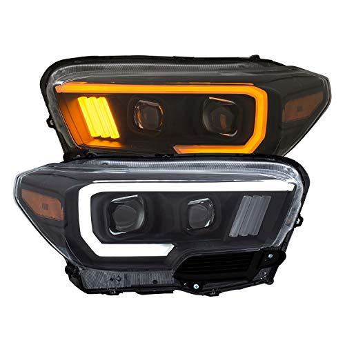 Anzo USA 111397 Projector Headlight Set w/Plank Style Switchback Black w/Amber w/LED DRL Projector Headlight Set
