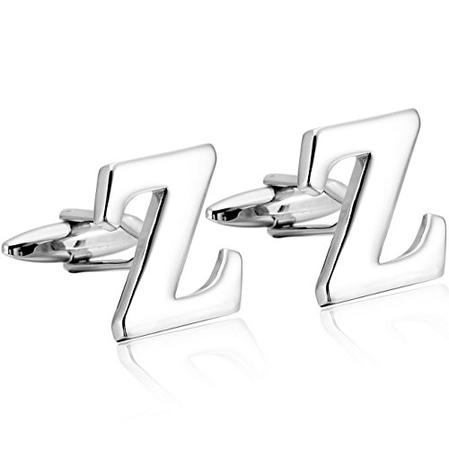 MOWOM Silver Tone 2PCS Rhodium Plated Cufflinks Initial Letter Capital Alphabet Z Shirt Wedding (Anniversary Steel Cufflinks Stainless)