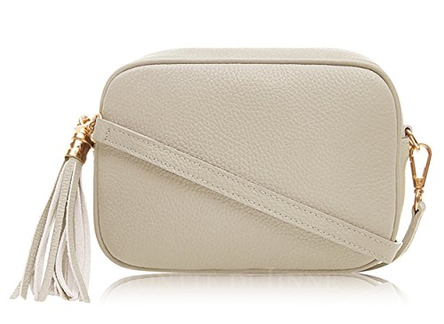 Montte Di Jinne - 100% Made in Italy - Soft Leather Leather Women's Cross Body Bag with Tassel key Ring Cream