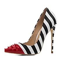 Women's Stiletto Pumps Studded Zebra Print high Heels Shoes Party Wedding Big Size 45