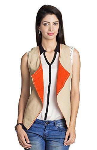 MOHR Women's Reversible Vest Large Beige by MOHR - Colors of India
