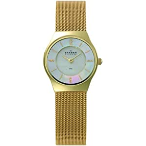 Skagen Slimline Bicolor 233XSGG - Reloj de mujer de cuarzo, correa de acero inoxidable color oro
