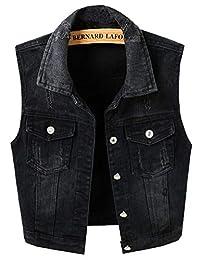 LifeShe Womens Casual Sleeveless Denim Cropped Jean Vest Jackets Coats Black