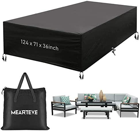 MOLANEPHY Outdoor Patio Furniture Cover, Waterproof Heavy Duty 600D Patio Table Seat Covers, Windproof, Tear-Resistant, Anti-UV 124 x 71 x 36inch