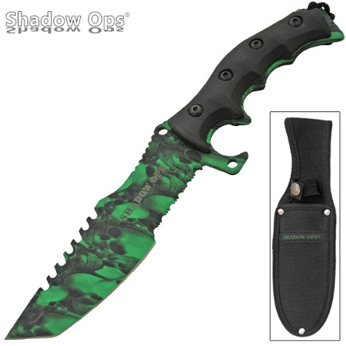 11 inch Shadow Ops Military Combat Fixed Blade Knife - Green