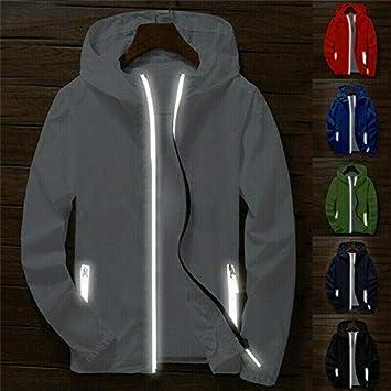 Senderismo Color Blanco para Deporte para Deportes al Aire Libre Camping Cortavientos para Hombre con Cremallera Resistente al Agua Genlesh tama/ño 2XL
