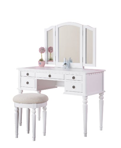 Bobkona St. Croix Collection Vanity Set with Stool, White (Makeup Table Vanity White)