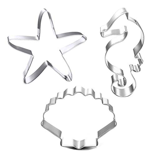 GXHUANG Ocean World Sugar Biscuit Cookie Cutters - Stainless Steel,Set of 3 Starfish Hippocampus Shell
