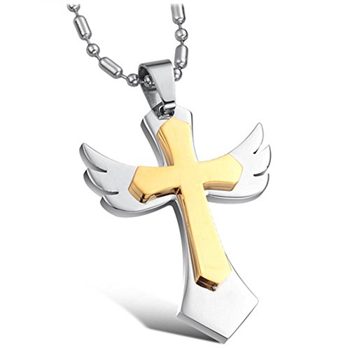 [MoAndy Jewelry Titanium Stainless Steel 18K Gold Plated Men's Fashion Necklace Angel Wings Cross Pendant] (18k Titanium Cross)