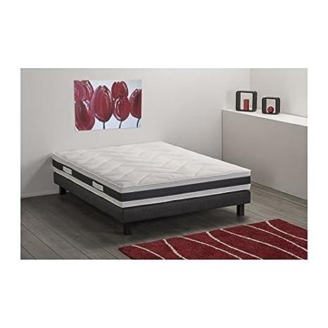 DEKO DREAM Aston Conjunto colchón + somier 140 x 190 cm 2 plazas - Espuma - Granja - 30 kg/m3 - 23 cm - Blanco: Amazon.es: Hogar