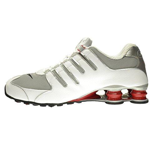 Nike Shox Nz Uomo Scarpe Bianco / Argento Metallizzato-sport Rosso-grigio Argilla 378341-104