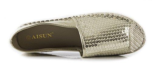 Zapatos De Mujer De Lentejuelas Brillantes Con Punta De Tacón De Carera De Corte Bajo Con Cordones Antideslizantes Zapatos De Oro