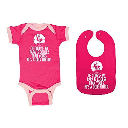 Mashed Clothing - of Course My Papa is Cooler Than Yours. He's A Deer Hunter. - Baby Ringer Bodysuit & Premium Bib Gift Set (Hot Pink/Pink Ringer, Hot Pink Bib, Newborn) ()