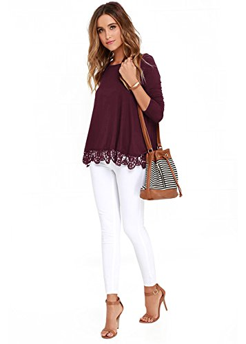 FISOUL Women's Tops Long Sleeve Lace Trim O-Neck A-Line Tunic Tops by FISOUL (Image #1)