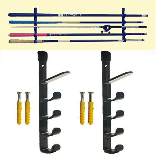 - AUXPhome Horizontal Fishing Rod Storage Rack Holder Wall Mount - Hold 5 Fishing Rods W Screws - Tackle Rack Fishing Rod Holder Rod - Perfect Fishing Rod Organizer Storage Bracket - Wall Mount Rack