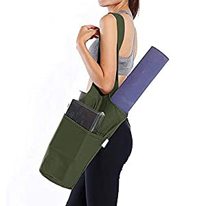 Better Beings Yoga Mat Bag | Eco-Friendly Multi-Purpose Yoga Mat Carrying Sling Tote Bag w/Large Pockets & Extra Zipper Pocket | One Size Fits Most (Olive)