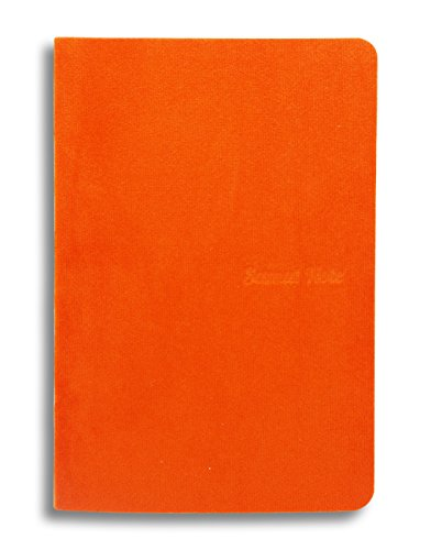 5.7 x 3.8 inches NoteBook Handmade Soft Orange Fabric Cover, 192 lined Pages   Lay Flat Binding   Cream Paper, A6 Size ()