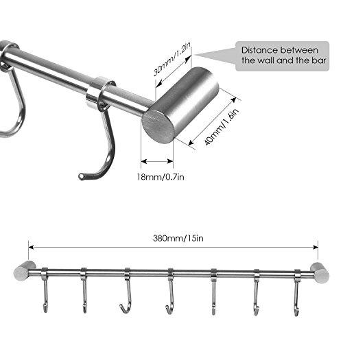 HOMFA Kitchen Rail Rack Wall Mounted Utensil Hanging Rack Stainless Steel Hanger Hooks for Kitchen Tools, Pot, Towel (7 Sliding Hooks) by Homfa (Image #2)