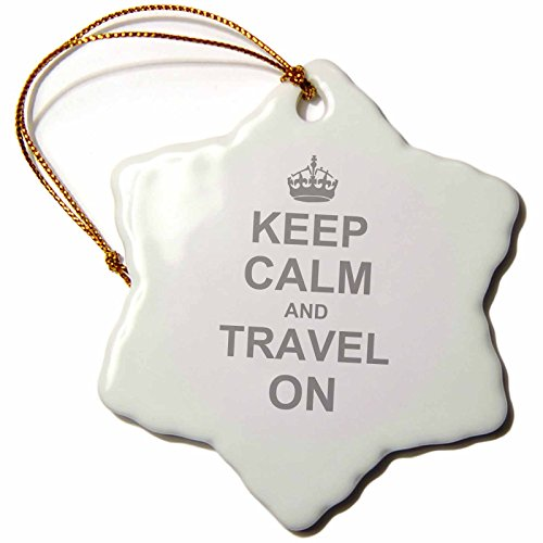 Christmas Traveler - 3dRose orn_157782_1 Keep Calm and Travel on Carry on Globe Traveling World Traveler Gifts Humor Porcelain Snowflake Ornament, 3-Inch