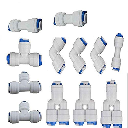 JJDD Quick Connect Push in to Connect Water Tube Fitting 3+3+3+3 T+I+Y+L 9.5mm Types of T and Y Three-Way Connector (Ti Reverse Osmosis)