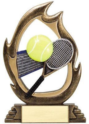 Express Medals 7.25 Inch Flame Resin Tennis Trophy Award with Engraved Personalized Plate 3-Pack - Engraved Tennis Medal