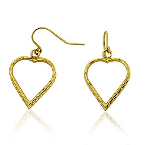 10k Gold Open Heart Diamond Cut Fish Wire Dangle (20mm Open Heart Ring)