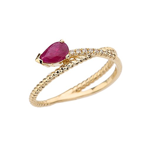 Diamond Criss Cross Ring - 14k Yellow Elegant Gold Criss-Cross Ruby Rope and Diamonds Designer Ring (Size 7)