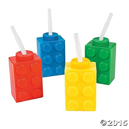 Fun Express - Block Party Molded Cups (8pc) for Birthday - Party Supplies - Drinkware - Sipper & Molded Cups - Birthday - 8 Pieces