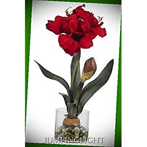 JumpingLight 4827 Amaryllis with Round Vase Artificial Flowers Wedding Party Centerpieces Arrangements Bouquets Supplies 17