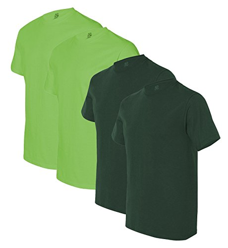 Fruit of the Loom mens 5 oz. 100% Heavy Cotton HD T-Shirt(3931)-FOREST GREEN/KIWI-XL-2PK ()