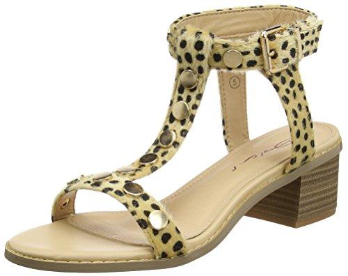 Dolcis Clemence - Sandalias de Tobillo Mujer Beige (leopard Pony)