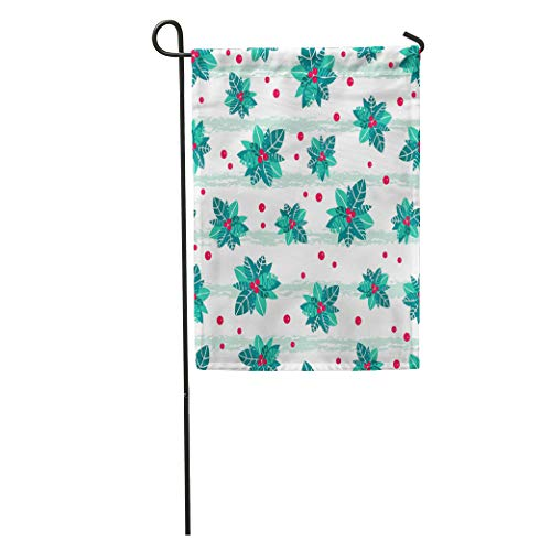 Semtomn Garden Flag Red Holly Berry Stripes Holiday Great for Winter Packaging Giftwrap Home Yard House Decor Barnner Outdoor Stand 28x40 Inches Flag (Holly Holiday Decor Wrap)