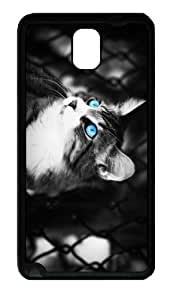 grove case blue eyes cat TPU Black case/cover for samsung galaxy note 3 N9000