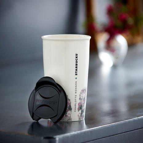 Starbucks Double Wall Ceramic Traveler - Charlotte Ronson, 12 Fl Oz