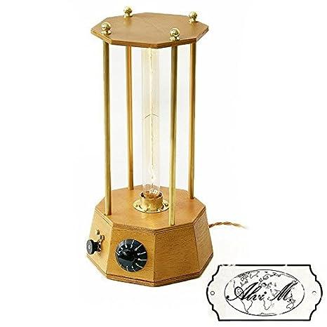 Lámpara de mesa artesanal Silvia E27 Edison Vintage: Amazon ...