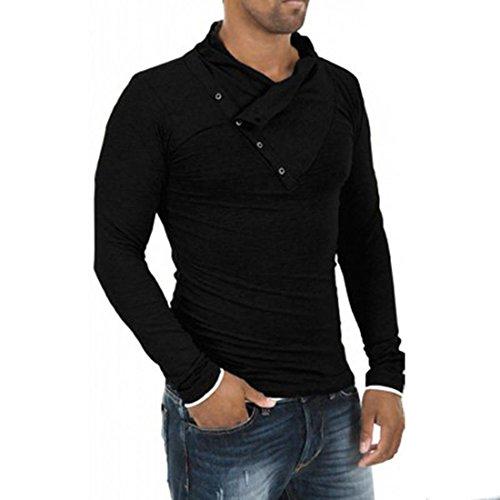Mens Stylish Tops Slim Fit Casual Fashion T-shirts Polo Shirt Long Sleeve Tee -