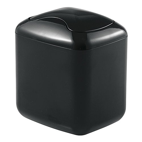 mDesign Small Mini Plastic Modern Wastebasket Trash Can Dispenser with Swing Lid for Bathroom Vanity Countertops, Tabletop - Dispose of Cotton Rounds, Makeup Sponges, Tissues - Black ()