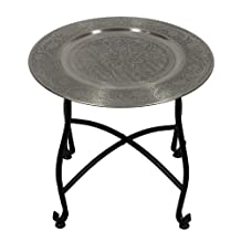 Essential Décor Entrada Collection Round Moroccan Table with Stand, 16 by 14.25-Inch