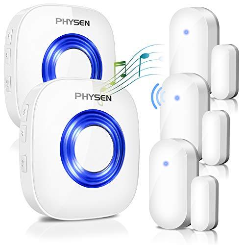 Door Chime PHYSEN Wireless Door Open Alert Kit Operating at 400-Feet Range,4 Volume Levels Door Alarm,3 Door Sensor Chimes+2 Plug-in Receiver with 52 Melodies LED Indicator for Home/Office/Store