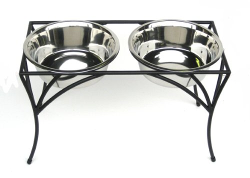 """Arbor Double Bowl Elevated Diner - 12"""" Tall - Raised Dog Feeder - Black"""