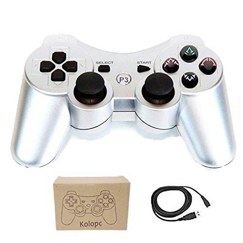Wireless Ps3 Pad (Kolopc Wireless Controller Gamepad Remote for PS3 Playstation 3 Double Shock - Bundled with USB Charge Cord (Silver1))